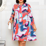 African Chiffon Pleated Dress  Plus Size 3xl Printed Mini Dress  Elegant Office Lady Work Dress Vintage Style