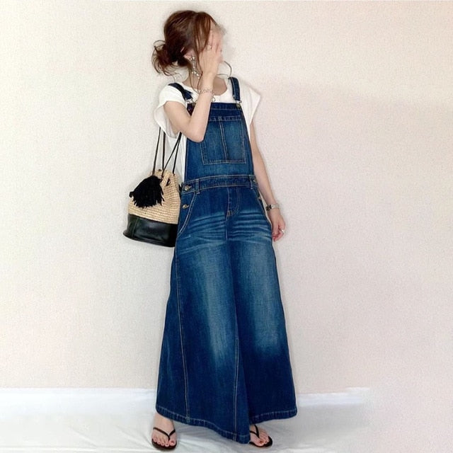 Strap Denim Dress Washable Japanese Loose  Long Dress Casual  Ankle-Length Fall Female dress - SexyHeksieLingerie