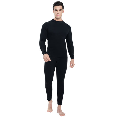 Autumn Winter Thermal Underwear Sets Men Middle Collar Close Fitting Seamless Heating Warm Long Johns Thermo Suit Black Gray 3XL - SexyHeksieLingerie