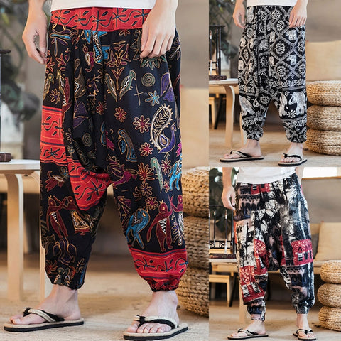 Baggy Cotton Linen Harem Pants Unisex Plus Size Wide Leg Trousers New Casual Vintage Long Pants Pantalon Hombre - SexyHeksieLingerie