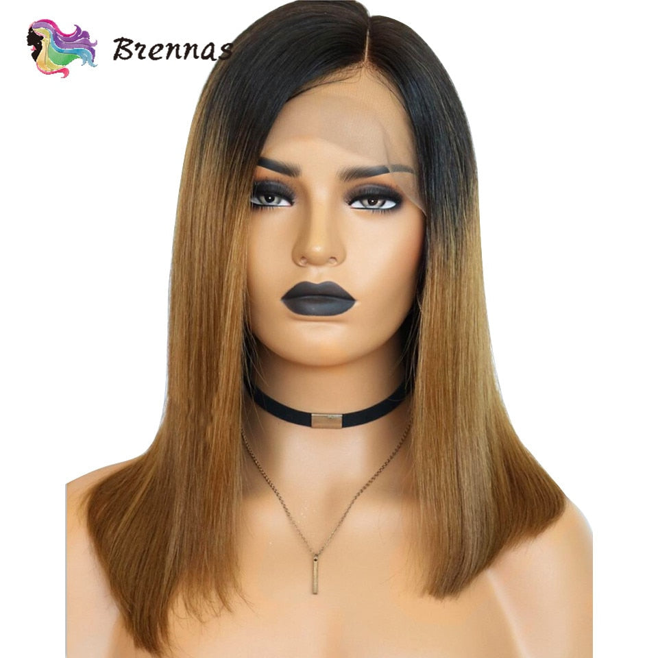 Bob lace front human hair wigs Brazilian human Remy straight bob side part wig ombre 1b 27 brown color bleached knots for women - SexyHeksieLingerie