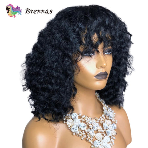 Brennas human hair lace wigs short bob curly wig with bangs Brazilian human remy hair 13X4 lace frontal wig 8-26inch for women - SexyHeksieLingerie