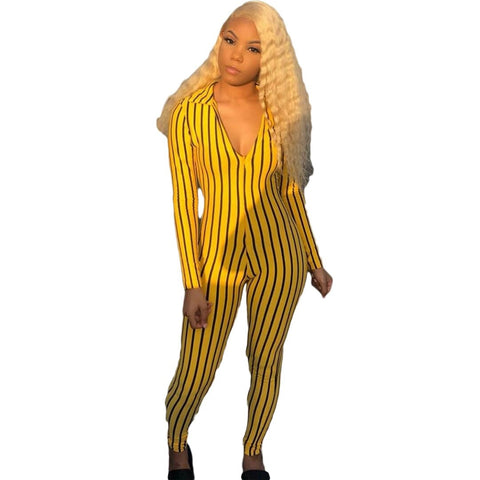 Striped Bodycon Jumpsuit Women's Skinny ActiveWear  Bodysuit Streetwear Long Sleeve  One Piece Overalls