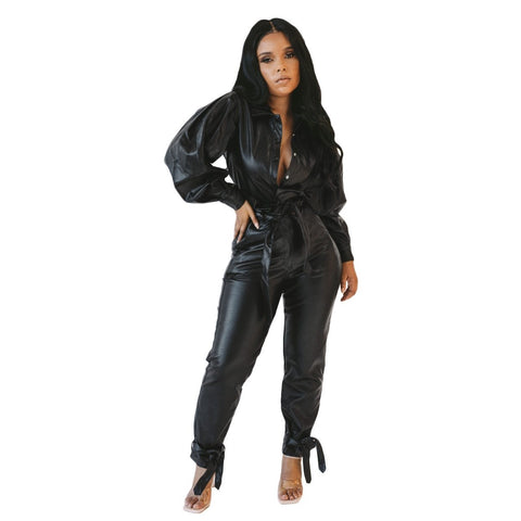 Streetwear Faux Leather PU Women's Set Lantern Sleeve Jacket Tie Up Pants Tracksuit Matching Two Piece Set Casual Outfit