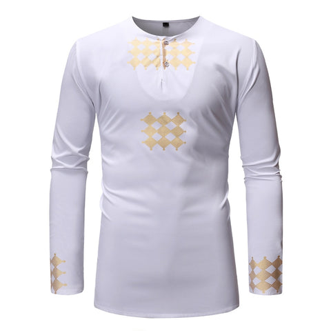 Casual African Ankara Clothes Men's Fashion T-shirt Long Sleeves Tee O Neck Shirt