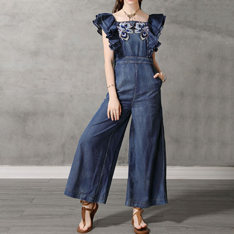 Casual Vintage Denim Jumpsuit  Wide Leg Jumpsuit Loose Office Ladies Pants High Street - SexyHeksieLingerie