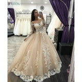 Champagne Tulle lace Long Sleeves Scoop Floor-Length A-line Wedding Dress Chapel Train Custom made - SexyHeksieLingerie