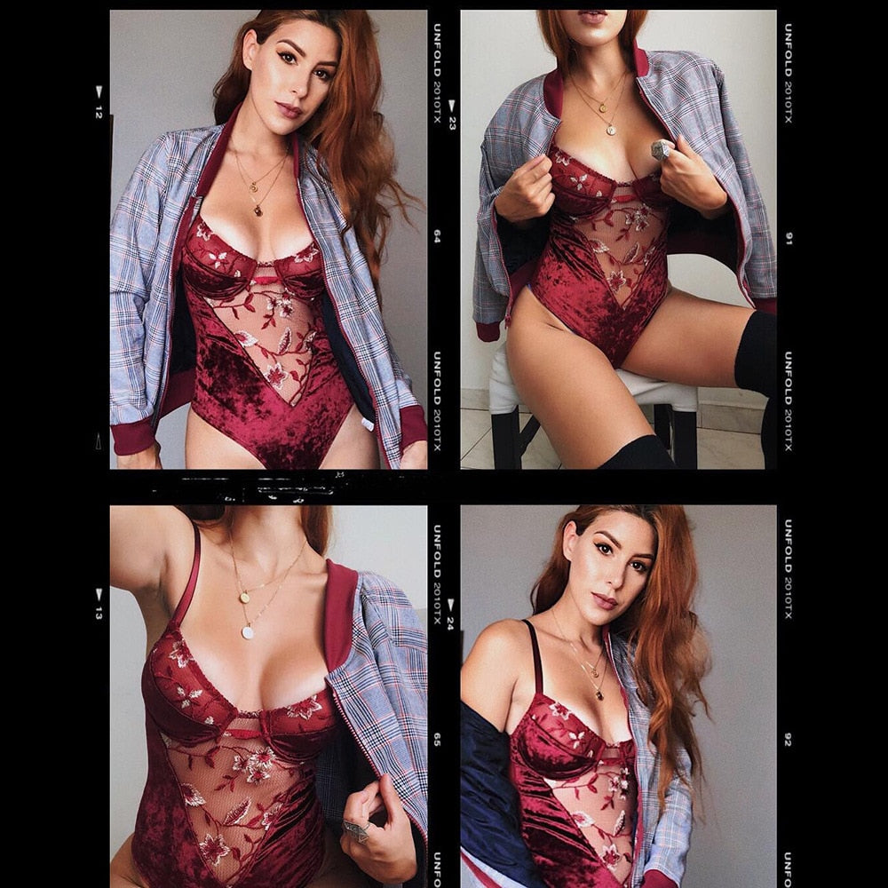 Women's  Bodysuit Sexy Patchwork Lace Female Jumpsuit / Romper / One-piece Top Lingerie - sexyheksie
