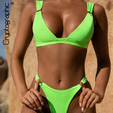 Neon Swimsuit Sexy High Waist Bikini Set Push Up  Mujer Bathing Suit - SexyHeksieLingerie
