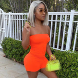 Sexy Sleeveless Neon Playsuit Fashion Strapless Jumpsuit Casual Outfit Streetwear - SexyHeksieLingerie