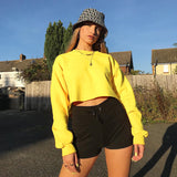Sweatshirt For Women Loose Solid Casual Short Sweatshirt New Round Neck Long Sleeve Crop Top - SexyHeksieLingerie