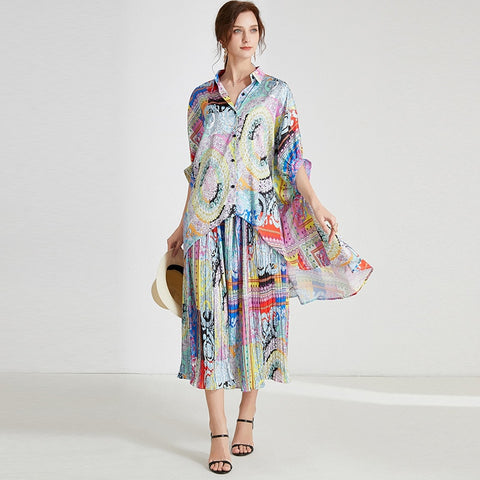 Large Size Suit Women Batwing Sleeve Loose Irregular Mixed Color Printing Loose Fit Spring Fashion AR269