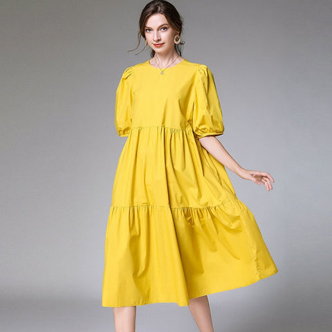 New Fashion Large Size XL-4XL Dress Women Over Size Short Sleeve  Simple Leisure Dress AP646