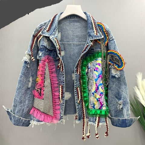 Heavy Industry Denim Jacket  Long Sleeve Women's Coat Fashion Tide Spring Autumn  13T093