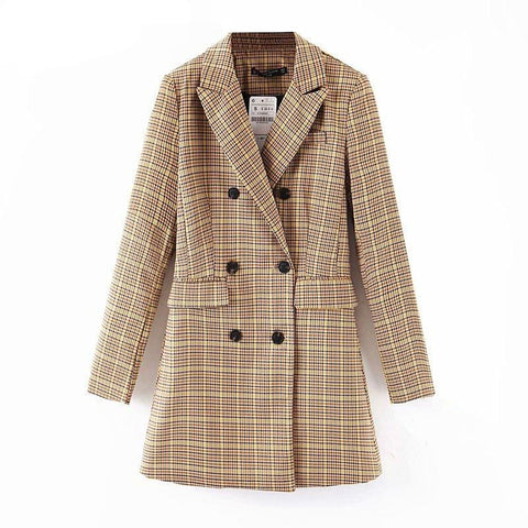 Women's Plaid Double Breasted Blazer  Loose Fit  Jacket Fashion Tide Spring Autumn  13T913