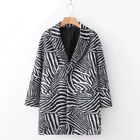 Women's Zebra Pattern  Color Blazer  Long Sleeve Loose Fit  Jacket Fashion Tide  13T450 - SexyHeksieLingerie