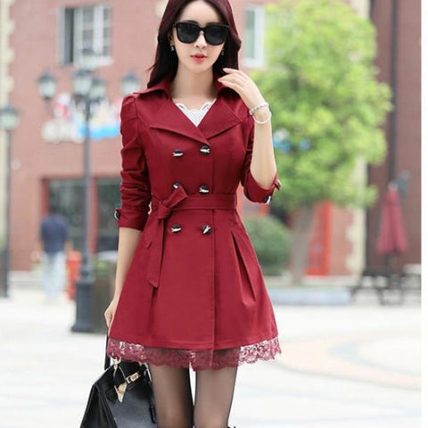 Spring Autumn Fashion Casual Long Sleeve Turn-down Collar Solid Color Double Breasted Slim Coat SE919