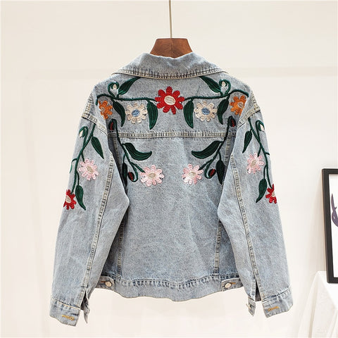 Long Sleeve Embroidery Patchwork Streetwear Denim Jacket Women Coat 3AK07805L