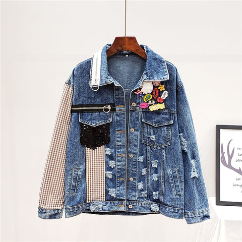 High Quality Long Sleeve Denim Patchwork Plaid Print Streetwear Cowboy Jacket Women Coat 3AK07905