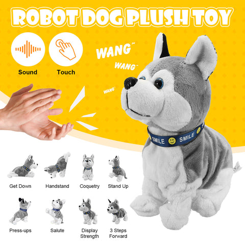 Electronic Robot Dog Sound Control Kids Plush Toy Sound Control Interactive Bark Stand Walk Electronic Toys Dog For Baby Gifts - SexyHeksieLingerie