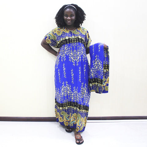 Fashion Elegant Dashiki Pint Cotton Short Sleeve Long Dress With Scarf African Dress Plus Size - SexyHeksieLingerie