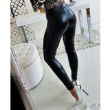 Fashion Women Faux Leather Skinny Pencil Pants Sexy Leggings Black Lace Mesh Patchwork PU Leather Pants - SexyHeksieLingerie