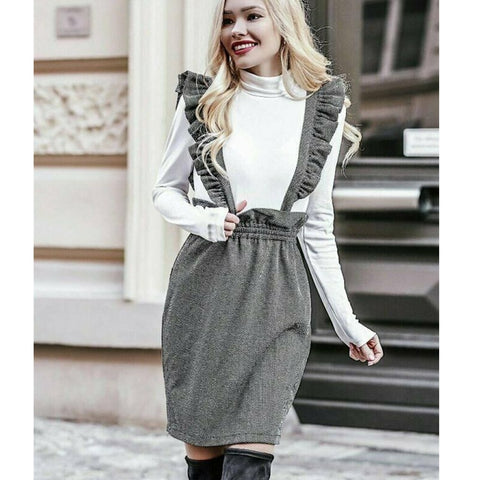 Fashion Women's Suspender Straight Skirt High Waisted  Skirt Overalls Strap pinafore skirt