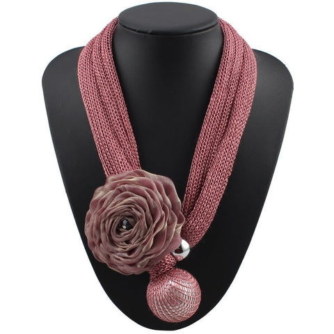 Florosy Bib Rope Chain Handmade Statement Big Flower Pendant Necklace for Women Fashion New Long Bead Simulated Pearl Jewelry - SexyHeksieLingerie
