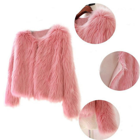 Fluffy Warm Faux Fur Coat Women's Hairy Collarless Overcoat  Outerwear Autumn Winter Coat Jacket