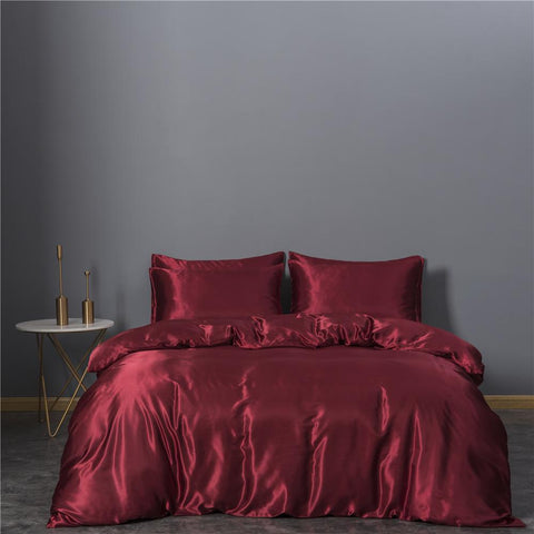 HOT! Satin Silk Bedding Set Home Textile King Size Bed Set Red Bed Clothes Duvet Cover Pillowcases Wholesale - SexyHeksieLingerie