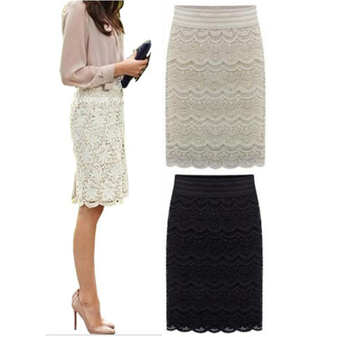 High Waist Bodycon Skirt Lace Womens Skirt Vintage Formal Ladies pencil skirt For Wedding, Office, Cocktail party