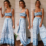 2 Piece Set Women's Summer Crop Top + pants Set - SexyHeksieLingerie