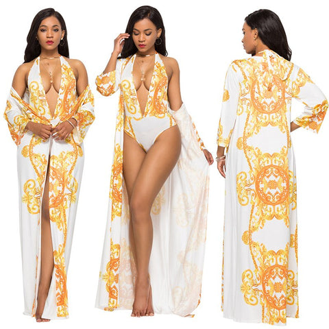 2PCS/SET Sexy Beach Cover Up + Swimsuit Set 2019 Retro Print Women Cover Up & one piece swimwear - SexyHeksieLingerie