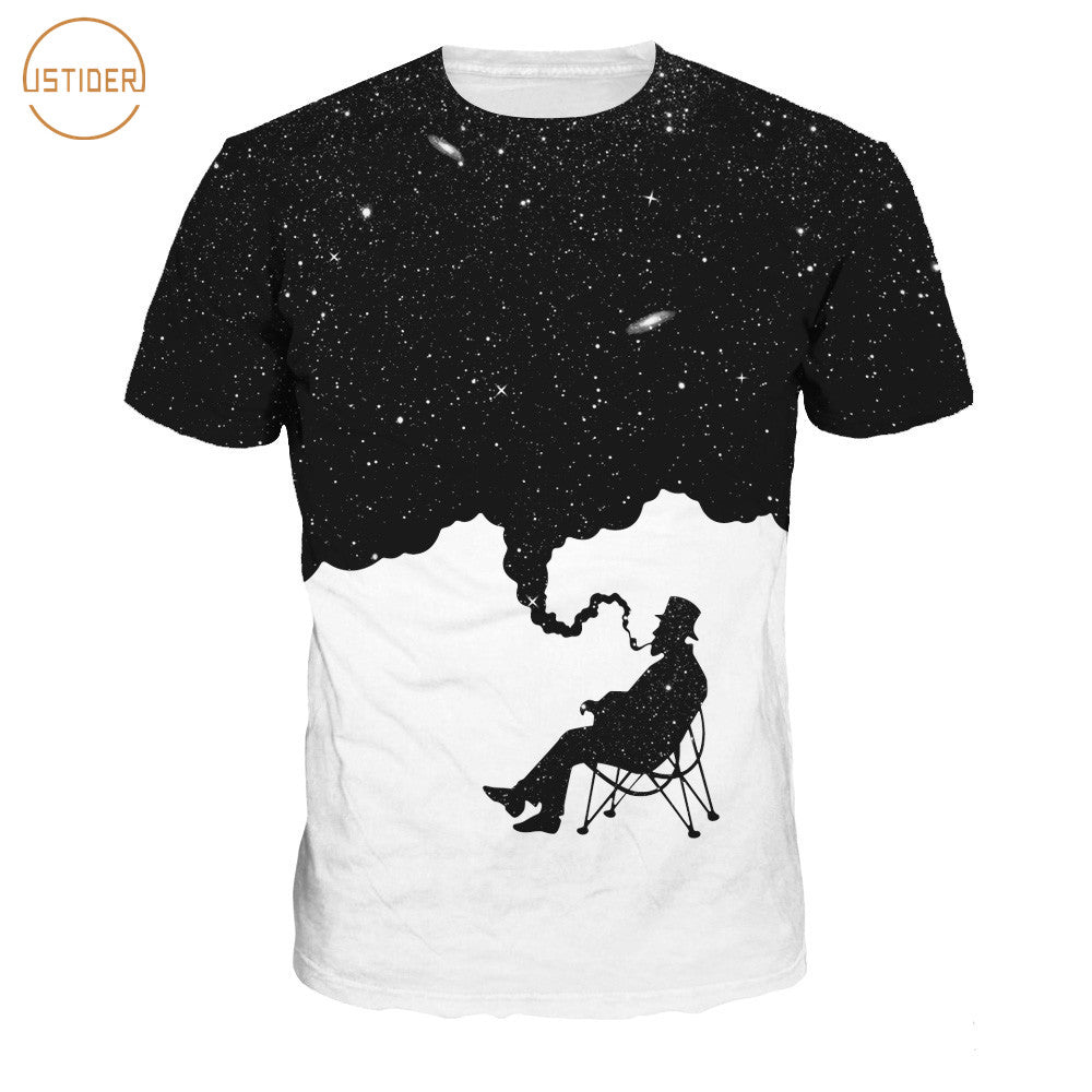 Smoker Starry Sky 3D Print T-Shirt Men/Women Short Sleeve Summer Casual T-Shirt - sexyheksie