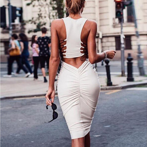 Bandage Dress Summer Vestidos Autumn Nightclub Bodycon Midi Dress Women Sexy Dresses Vestidos Mujer 2019 Solid Robe - sexyheksie