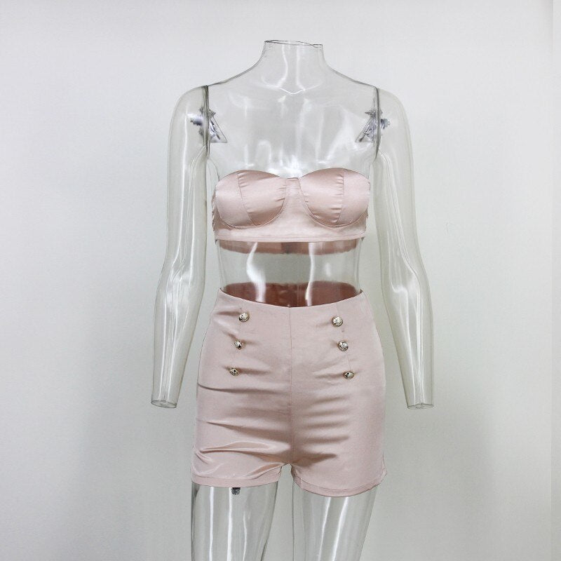 Two Piece Outfits Crop Top And Short - sexyheksie