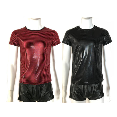KH57 M-2XL  Fashion Faux Leather Plaid Tanks Night Club Short Sleeves DS Black /Red - SexyHeksieLingerie
