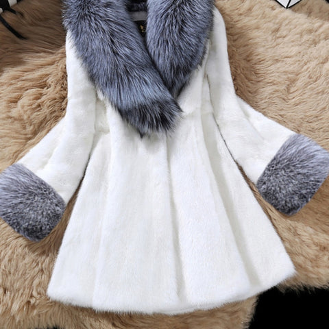 Korean Style Fashion Mid-length Faux Fur Scarf Collar Slim Coat  / Jacket for women 2A230