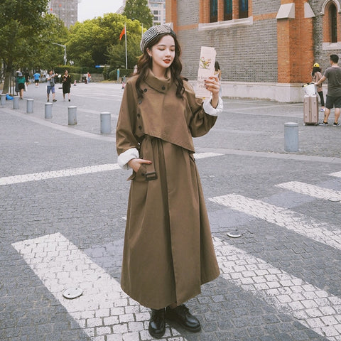 New long coat Korean style solid asymmetrical Adjustable Waist ankle-length windbreaker for women 2A206