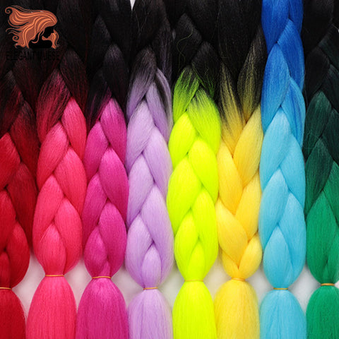 1PCS 24inch Jumbo Braid Hair Yaki Soft Hair Ombre Crochet Braiding Synthetic Hair Extension