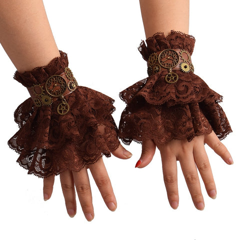 Lace Wrist Cuffs Retro Cosplay Brown Women's Steampunk Gear Vintage Wristbands Bracer - SexyHeksieLingerie