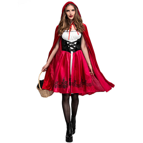 Little Red Riding Hood Costume Adult Women Halloween Party Cosplay costume High Quality Dress + cloak Stage performance suit