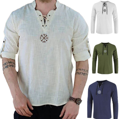 Medieval Viking Pirate Linen Top Shirt  T-shirt Beard Cosplay Tee Or  Belt Price per each Plus Size M-5XL - SexyHeksieLingerie