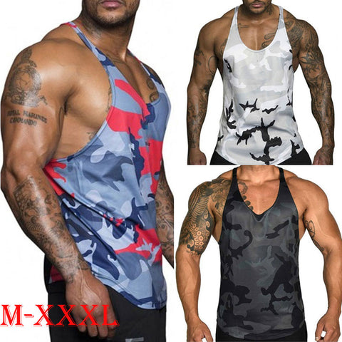 Men Gym Muscle Bodybuilding Sleeveless Shirt Tank Top Singlet Fitness Sport Vest Male Fashion Summer Tops Clothing - SexyHeksieLingerie