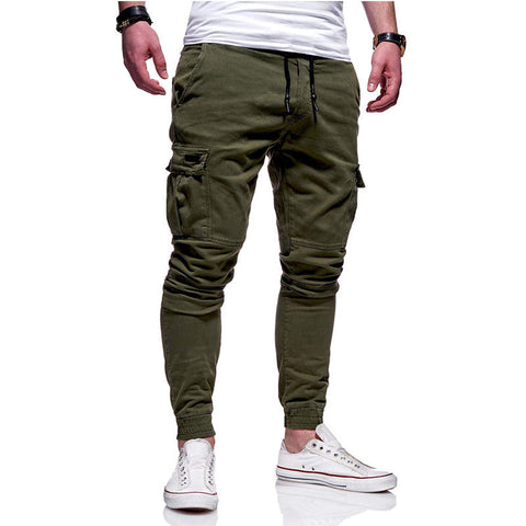 Men's Slim Fit Ankle-tied Pencil Pants  Trousers  Casual Drawstring Side Pockets Harem Pants Solid Sportswear