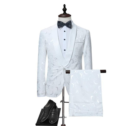 Mens White Floral One Button Suits Party Wedding Groom Tuxedos Groomsmen 2 Piece Suit (Jacket+Pants) Male Costume Mariage Homme - SexyHeksieLingerie