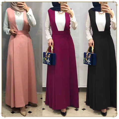Middle East Bodycon Abaya Muslim High Waist A-line  Long Suspender Skirt Loose Maxi   Turkish Islamic Dress