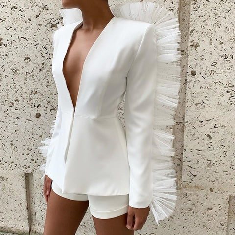 Modern Women's Shorts Suit Long Sleeve Ruffled Blazer Plunging Neckline Jacket Top & Short Pant 2PC