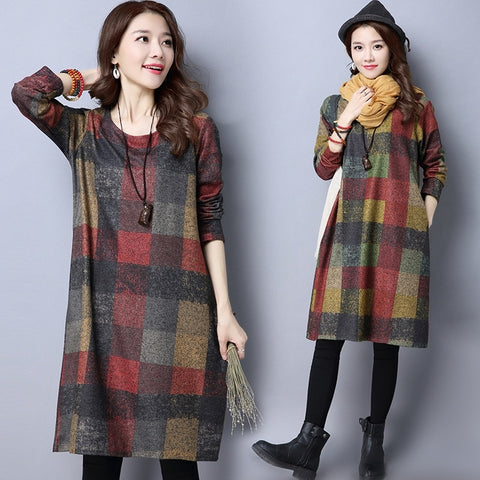 Autumn Winter Women's Dress Elegant Thick warm Long sleeve Loose Dress Vestidos Robe Elbise