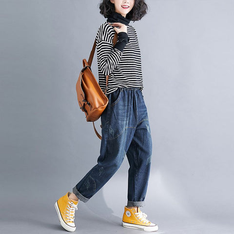 Women's Jeans Vintage Style Loose Harem Pants Literary big size Elastic Denim long Trousers